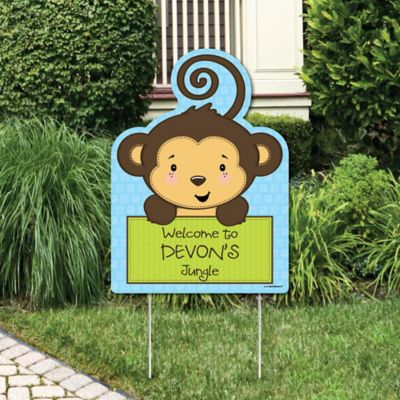 Blue Monkey Boy   Party Decorations   Birthday Party Or Baby Shower  Personalized Welcome Yard Sign