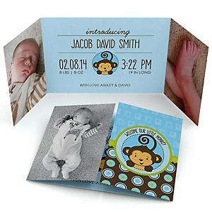 Blue Monkey Boy - Photo Birth Announcements