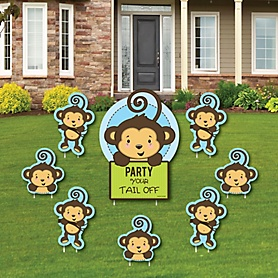 Monkey Boy - Yard Sign & Outdoor Lawn Decorations - Baby Shower or Birthday Party Yard Signs - Set of 8