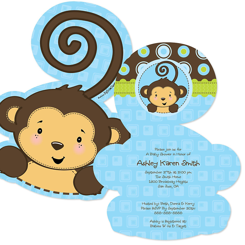 Blue Monkey Boy - Shaped Baby Shower Invitations | BigDotOfHappiness.com