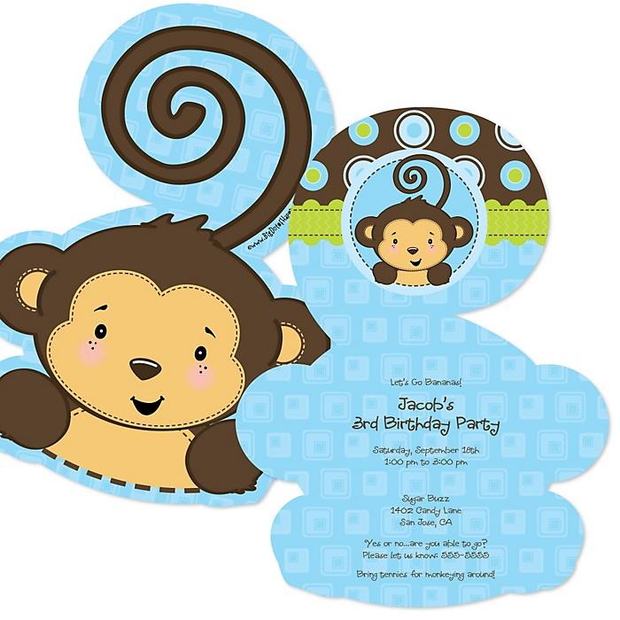 Blue Monkey Boy - Shaped Birthday Party Invitations - Set of 12