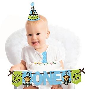 Monkey Boy 1st Birthday - First Birthday Boy Smash Cake Decorating Kit - High Chair Decorations