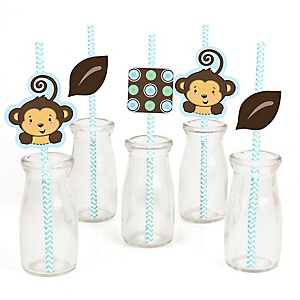 Blue Monkey Boy - Paper Straw Decor - Baby Shower or Birthday Party Striped Decorative Straws - Set of 24