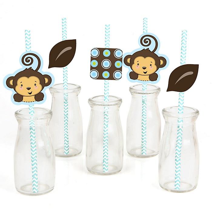 Blue Monkey Boy - Paper Straw Decor - Baby Shower or Birthday Party Striped Decorative Straws - Set of 24