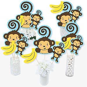 Monkey Boy - Baby Shower or Birthday Party Centerpiece Sticks - Table Toppers - Set of 15