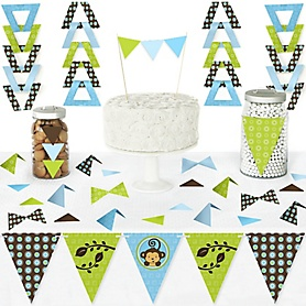 Blue Monkey Boy - DIY Pennant Banner Decorations - Baby Shower or Birthday Party Triangle Kit - 99 Pieces
