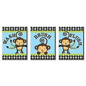 Monkey Boy - Kids Bathroom Rules Wall Art - 7.5 x 10 inches - Set of 3 Signs - Wash, Brush, Flush