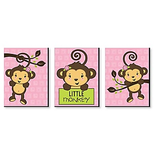 Monkey Girl - Baby Girl Nursery Wall Art & Kids Room Decor - 7.5 x 10 inches - Set of 3 Prints