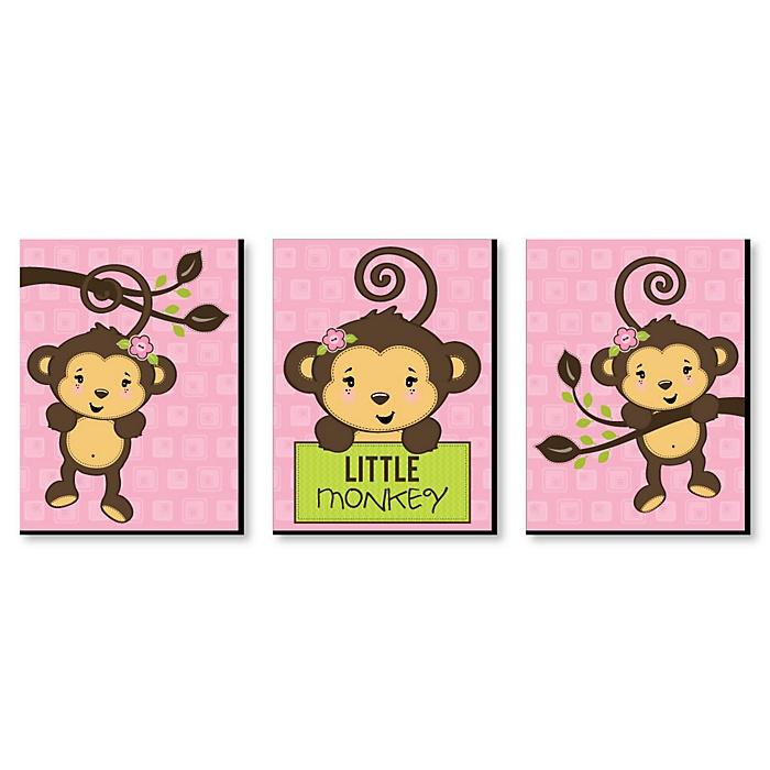 Monkey Girl - Baby Girl Nursery Wall Art & Kids Room Decor - 7.5 x 10 inches - Set of 3 Prints