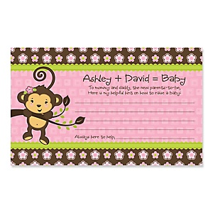 Pink Monkey Girl - Personalized Baby Shower Helpful Hint Advice Cards - 18 ct.