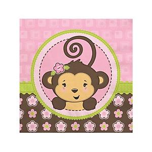Pink Monkey Girl - Baby Shower Beverage Napkins - 16 ct