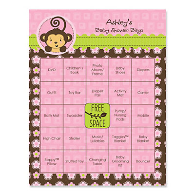 Pink Monkey Girl   Personalized Baby Shower Game Bingo Cards   16 Ct