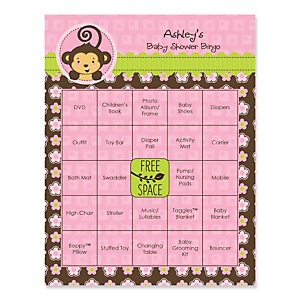 Monkey girl baby shower theme bigdotofhappiness pink monkey girl personalized baby shower game bingo cards 16 ct negle Image collections