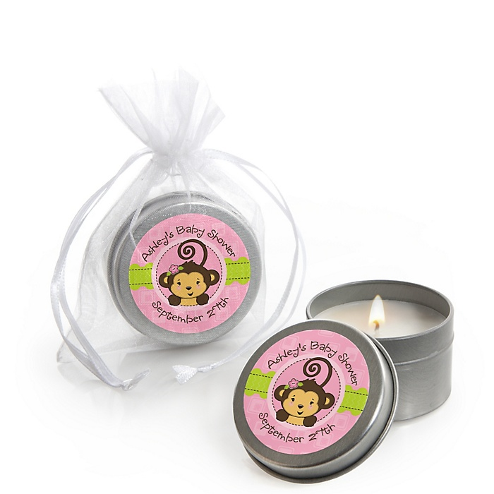 Pink Monkey Girl - Personalized Baby Shower Candle Tin Favors - Set of 12