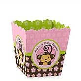 Pink Monkey Girl - Personalized Baby Shower Candy Boxes