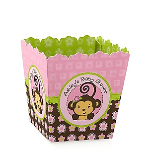 Pink Monkey Girl - Party Mini Favor Boxes - Personalized Baby Shower Treat Candy Boxes - Set of 12