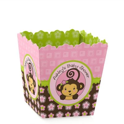 High Quality Pink Monkey Girl   Personalized Baby Shower Candy Boxes