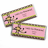 Pink Monkey Girl - Personalized Baby Shower Candy Bar Wrapper Favors