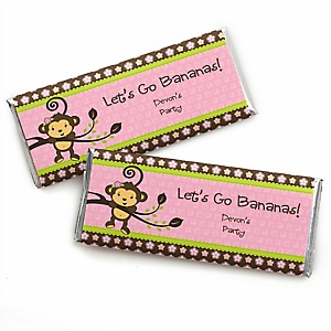 Pink Monkey Girl - Personalized Candy Bar Wrapper Baby Shower or Birthday Party Favors - Set of 24