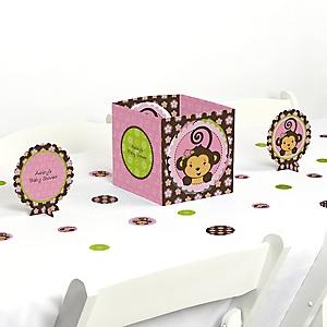 Pink Monkey Girl - Baby Shower Centerpiece & Table Decoration Kit