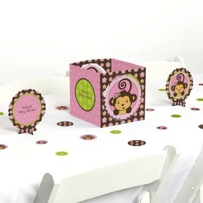 Pink Monkey Girl   Baby Shower Centerpiece U0026 Table Decoration Kit