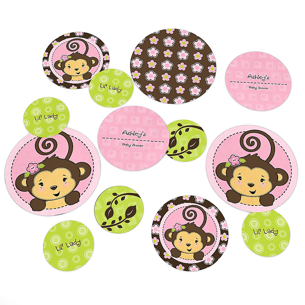 Pink Monkey Girl   Personalized Baby Shower Table Confetti   27 Ct