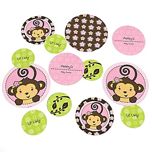 Pink Monkey Girl - Personalized Baby Shower Table Confetti - 27 ct