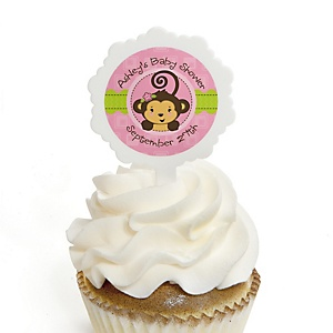Pink Monkey Girl - 12 Cupcake Picks & 24 Personalized Stickers - Baby Shower Cupcake Toppers