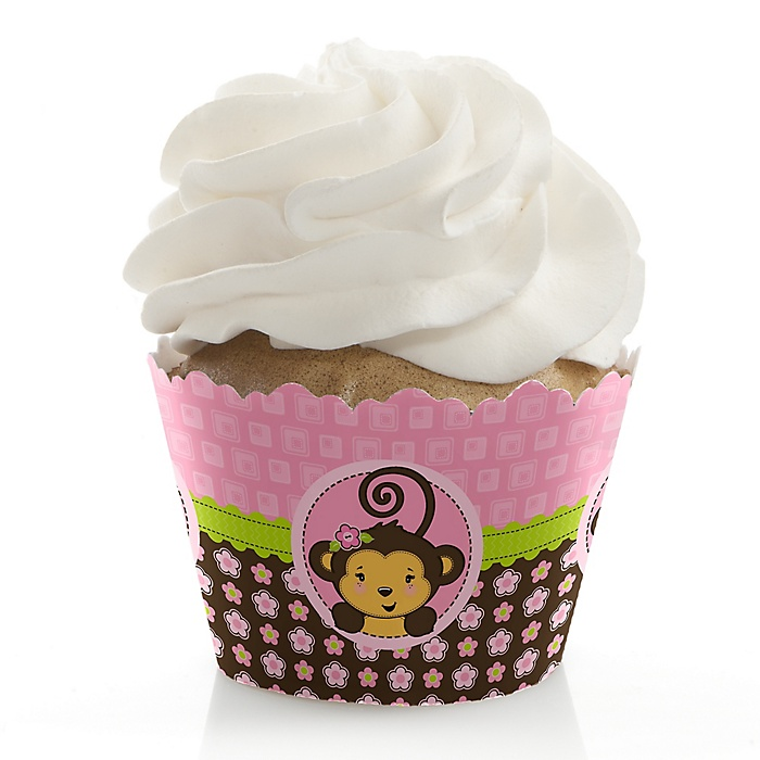 Pink Monkey Girl - Baby Shower Decorations - Party Cupcake Wrappers - Set of 12