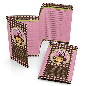 Pink Monkey Girl - Personalized Baby Shower Fabulous 5 Games