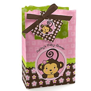 Pink Monkey Girl - Personalized Baby Shower Favor Boxes - Set of 12