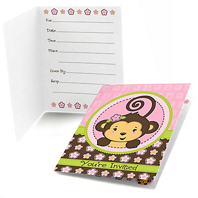 Monkey girl baby shower fill in invitations 8 ct monkey girl baby shower fill in invitations 8 ct filmwisefo