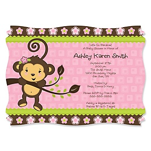 Pink Monkey Girl - Personalized Baby Shower Invitations