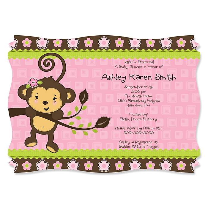 Pink Monkey Girl - Personalized Baby Shower Invitations - Set of 12
