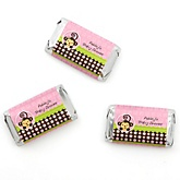 Pink Monkey Girl - Personalized Baby Shower Mini Candy Bar Wrapper Favors - 20 ct