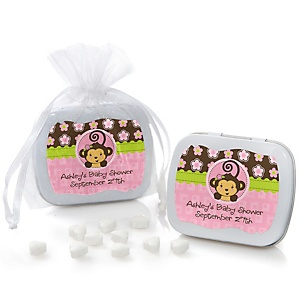 Pink Monkey Girl - Personalized Baby Shower Mint Tin Favors