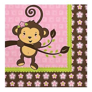 Pink Monkey Girl - Baby Shower Luncheon Napkins - 16 ct