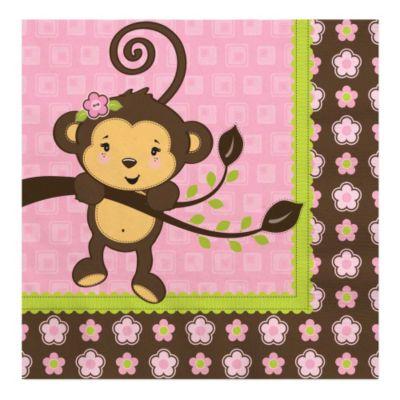 Pink Monkey Girl   Baby Shower Luncheon Napkins   16 Ct