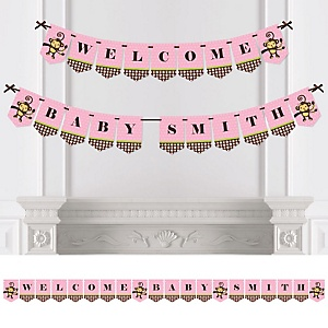 Pink Monkey Girl - Personalized Party Bunting Banner & Decorations