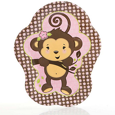 Pink Monkey Girl   Baby Shower Dinner Plates   8 Ct | BigDotOfHappiness.com