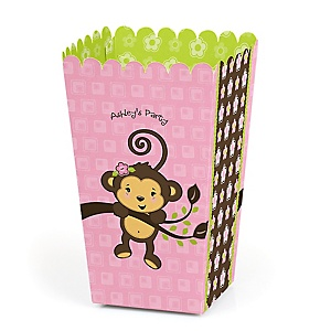 Pink Monkey Girl - Personalized Party Popcorn Favor Treat Boxes