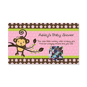 Pink Monkey Girl - Personalized Baby Shower Game Scratch Off Cards - 22 ct