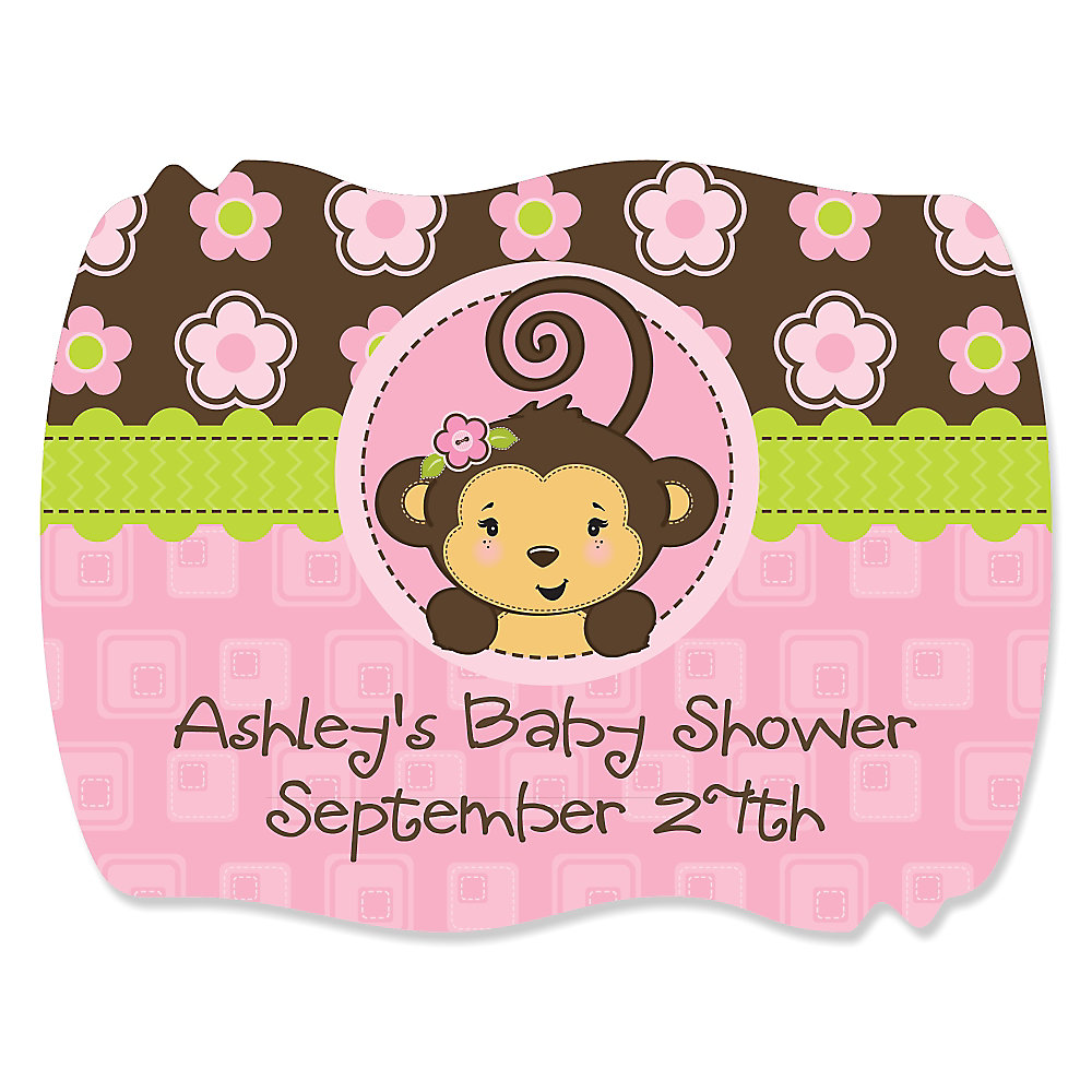 Pink Monkey Girl   Personalized Baby Shower Squiggle Stickers   16 Ct