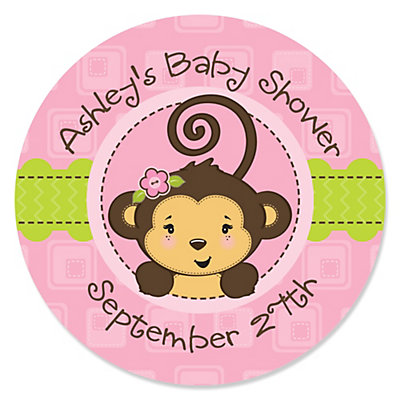pink monkey girl  personalized baby shower sticker labels   ct, Baby shower invitation