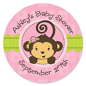 Pink Monkey Girl - Personalized Baby Shower Sticker Labels - 24 ct