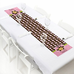 Pink Monkey Girl - Personalized Party Petite Table Runner