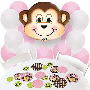 Pink Monkey Girl - Confetti and Balloon Party Decorations - Combo Kit