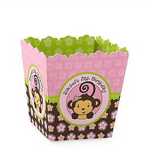 Pink Monkey Girl - Party Mini Favor Boxes - Personalized Birthday Party Treat Candy Boxes - Set of 12