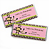 Pink Monkey Girl - Personalized Birthday Party Candy Bar Wrapper Favors
