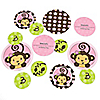 Pink Monkey Girl - Personalized Birthday Party Table Confetti - 27 ct